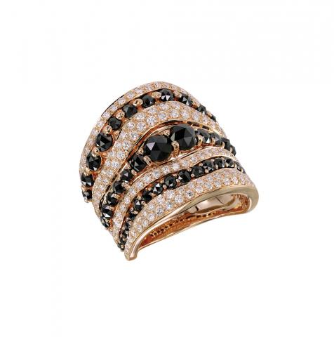 PINK GOLD K18 WITH DIAMONDS AND BLACK DIAMONDS